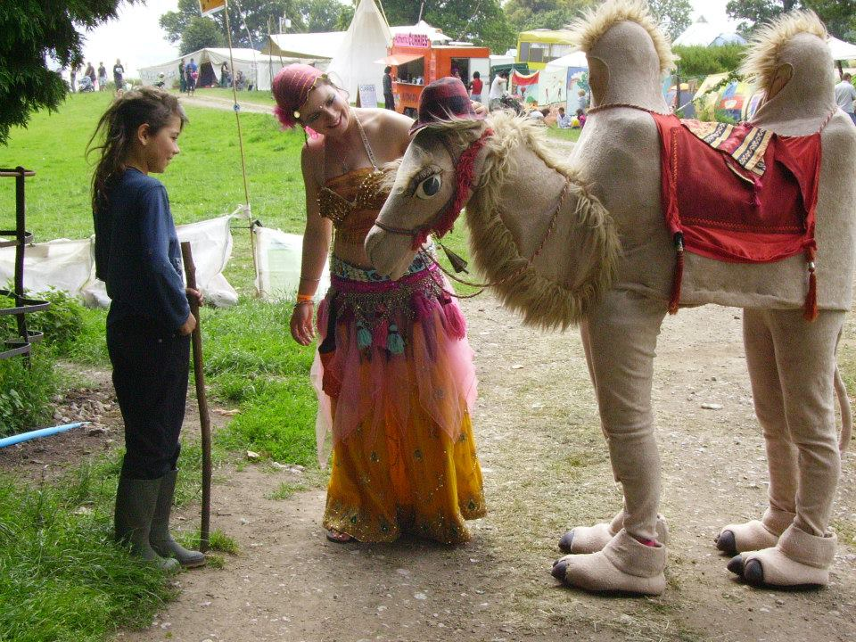 Abdul the Camel making friends at the Big Green Gathering in Wales