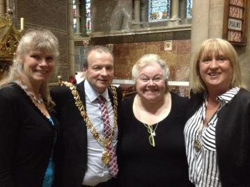 Caz and Janey with Lord Mayor Cllr. Chris O'Leary and Lady Mayoress Angela