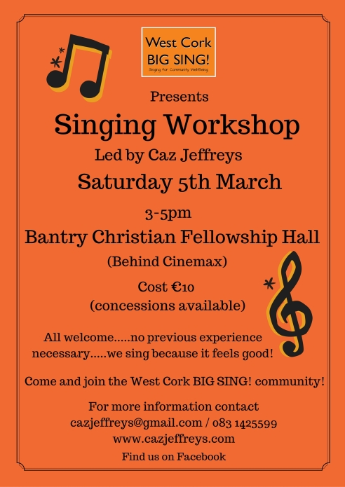 Bantry Singing Workshop Sat. 5th March