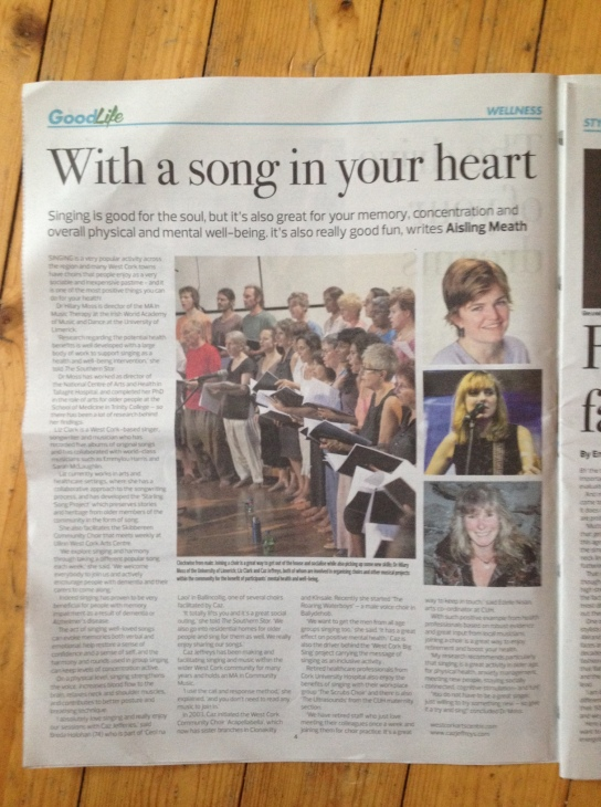Piece for Southern Star on singing and the over 55s