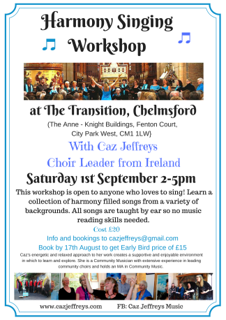 The Transition Harmony Singing Workshop - 1st September '18